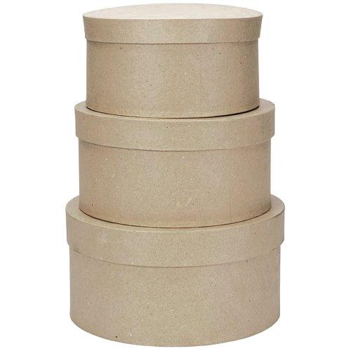 Darice 2849-04 Value Pack Round Paper Mache Box Set, 4, 5 & 6' Paper Mache Box Set