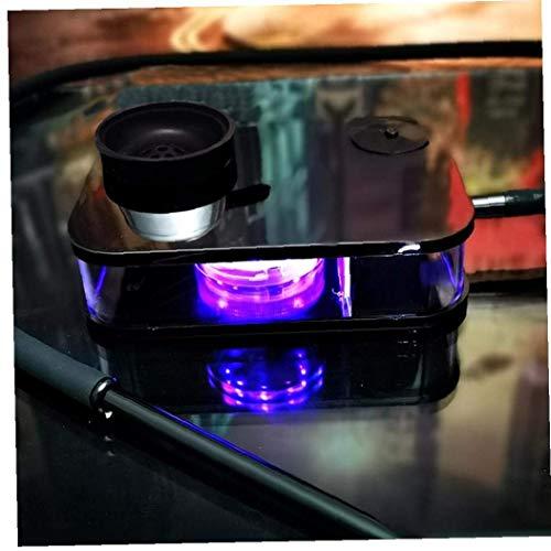 MAQRLT Hookah Shisha Set Stefer Box, Barra de Regalo Cuadrada Base de casa Portátil Portátil LED Luz Acrílico Portátil Hookah Hookah Conjunto con Luz LED,Negro