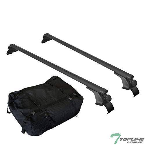 Topline Autopart 50' Universal Black Oval Window Frame Aluminum Roof Rail Rack Cross Bar Cargo Carrier Waterproof Utility Bag