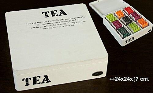DONGABOWEB houten kist in wit met 9 vakken en versierd met het logo Tea.