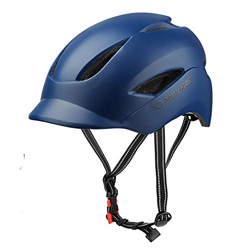 MOKFIRE Adult Bike Helmet with USB Charge Safety Light & Reflective Strap, Urban Commuter Bicycle Helmet CPSC and CE Certified for Adult Men/Women - Adjustable Size - Navy