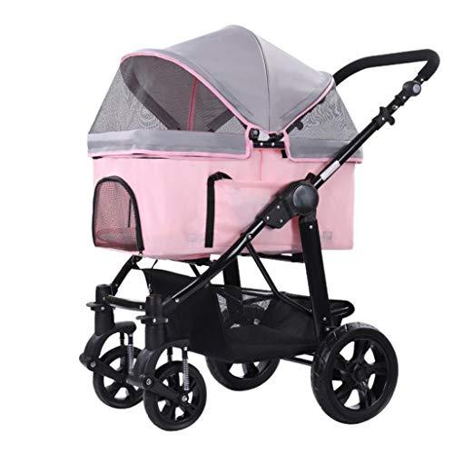 WGYDREAM Hundebuggy Hundewagen Pet Travel Kinderwagen Pet 4-rollig Behinderte Hund Kinderwagen Hunde Katzen Carts Stoß- Durable Stroller EIN-klick-Folding (Pink)