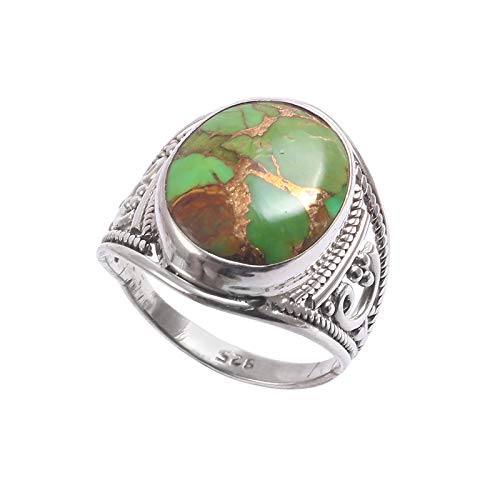 Anillo ovalado de piedra turquesa | Piedra natural lisa | Anillo unisex de plata de ley 925 | Regalo de San Valentín | Talla de anillo 7 US