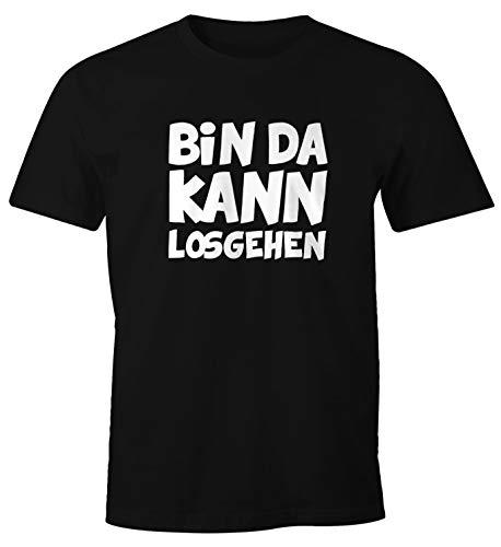 MoonWorks Herren T-Shirt mit Spruch Bin da kann losgehen Fun-Shirt schwarz M