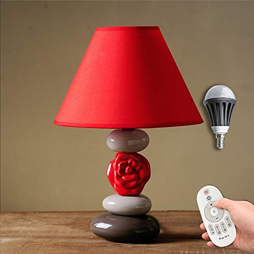 SXNYLY Dormitorio LED lámpara de cabecera nórdico minimalista Red Bed Lámpara de cerámica lámpara decorativa remoto de control de regulación pantalla de la tela for la celebración de bodas, Salas de e