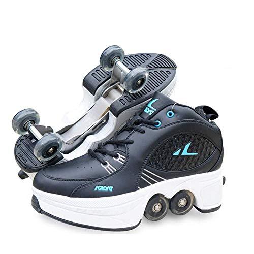 FTYUNWE Inline-Skates Mädchen Rollschuhe Kinder,Rollerskates Damen MehrzweckschuheDeformation Schuhe Beste Wahl,Schwarz-40