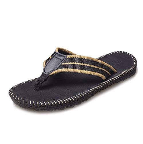 Men's Summer Slippers, Breathable Quick Dry Bedroom Open Toe Flip Flops Black B 42