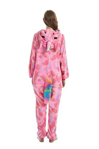 Yuson Mädchen Winter Flanell Einhorn Onesie Pyjamas Erwachsene Unisex Einteiler Cartoon Tier Kostüm Neuheit Weihnachten Cosplay Pyjamas (Rosa Einhorn) - 5