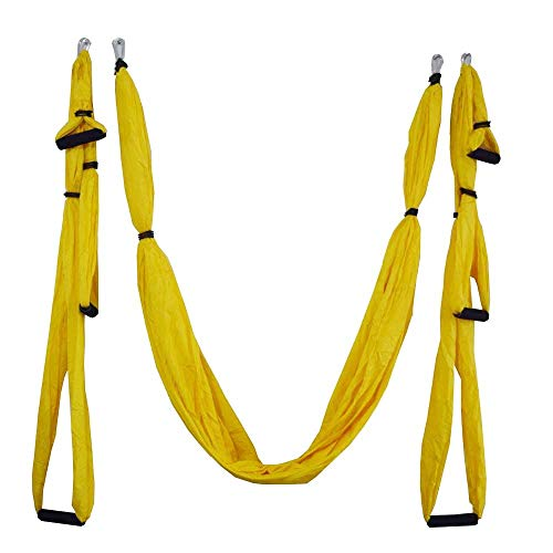 WEVB Columpio aéreo de yoga ultra fuerte antigravedad hamaca de yoga para colgar en el techo + correas de extensión (10 amarillas)