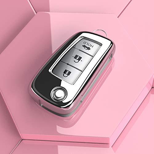 Auto Key Soft Case Cover Caso de la Llave del Coche TPU Cubierta Tienda Remoto Titular Campo para Nissan XTRAIL X Trail Qashqai Juke Nota SENTRA Altima MICRA Accesorios (Color Name : Silver Case)