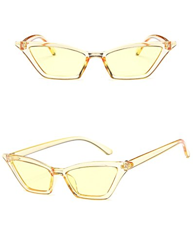 Retro Small Frame Skinny Thin Cat Eye Vintage Sunglasses for Women Colorful Mini Narrow Square Cateye Sunglasses by W&Y YING (yellow)
