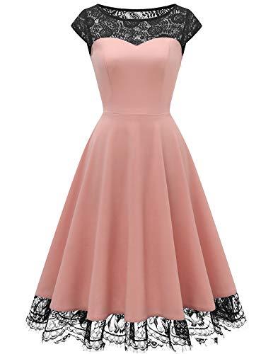 HomRain 1950er Elegant Spitzenkleid Rundhals festlich Brautjungfern Damen Cocktailkleider Abendkleid für Hochzeit Partykleid Pink XL