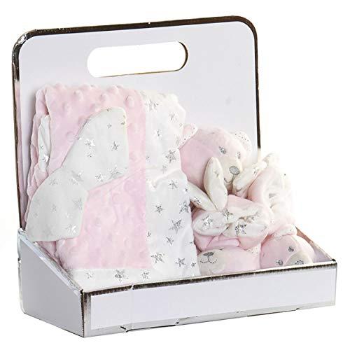 Peluche Oso con Manta y Patucos para Bebés, Regalo recién Nacido. Manta Bebé Suave 26x13x26 cm - Hogar y Más - Rosa Claro