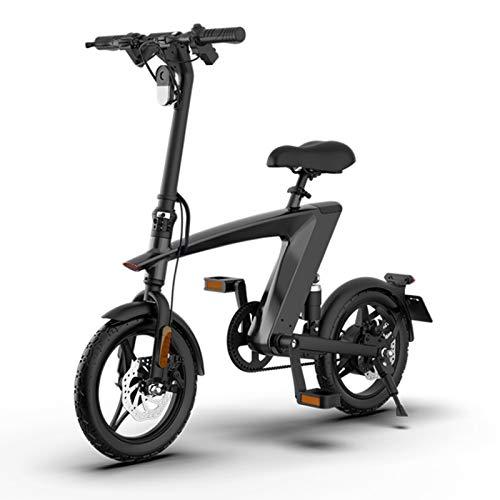 sunyu 250W Motor Bicicleta Plegable 25 km/h, Bici Electricas Adulto con Ruedas de 14', Batería 36V 10Ah, Asiento Ajustable, con Pedalesblack