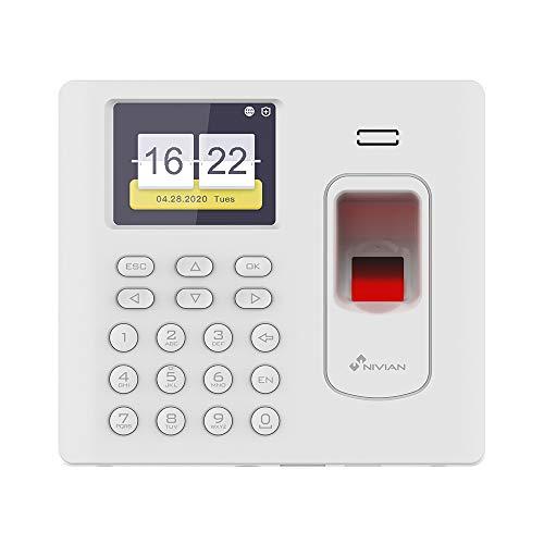 Nivian-Control de presencia con conexión WIFI -Registro por huella, tarjeta MIFARE y/o contraseña-Capacidad para 1000 huellas/tarjetas- Hasta 100.000 registros-Incluye software de gestión PC