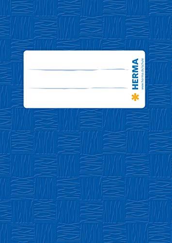 HERMA 7403 Heftumschlag DIN A6 hoch, Bast, Hefthüllen mit Beschriftungsetikett und Baststruktur, aus strapazierfähiger und abwischbarer Polypropylen-Folie, Heftschoner für Schulhefte, blau