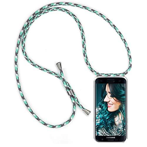 ZhinkArts Handykette kompatibel mit Samsung Galaxy S7 - Smartphone Necklace Hülle mit Band - Schnur mit Case zum umhängen in Mint Camouflage