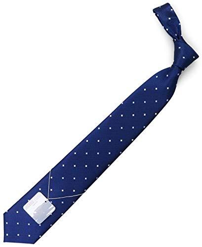 MICHIKOLONDON(ミチコロンドン)ブランドネクタイ日本製西陣織シルク100%ジャガード織スクエア小紋(D柄:ネイビー)
