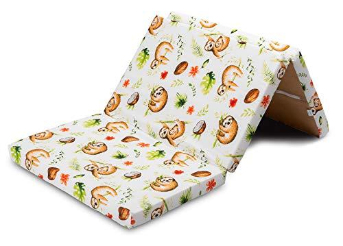 Materassino pieghevole da viaggio per bambini, 60 x 120 cm, in gommapiuma, 3 pezzi, con borsa per il trasporto