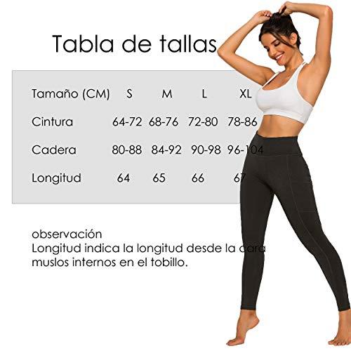 FITTOO Leggings Clásico Super Suave Elásticos Costura Lateral Mujer Pantalones Deportivos Yoga Alta Cintura Transpirables Negro S