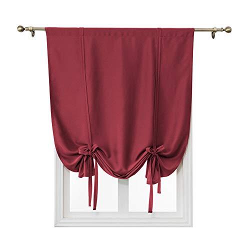 Cortinas para ventana, 1 panel de barra, cortinas cortas, de color sólido, cortinas romanas para interiores, cortinas romanas para balcón, dormitorio, sala de estar, cocina (rojas, 120 x 120 cm)