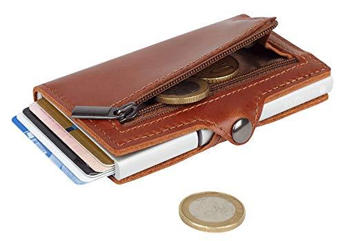 Silvergear Leder Pasjeshouder Portemonnee Bruin - RFID Anti-skim Bescherming - Voor Pasjes, Munt en Briefgeld - Heren en Dames