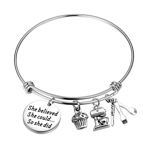 Lywjyb Birdgot Baker Gift Pastry Chef Graduation Gift She Believed She Could So She Did Keychain Baking Gift Culinary Student Gift (Baker Bracelet)