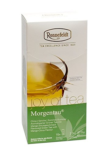 Ronnefeldt Morgentau® Joy of Tea Teebeutel 10er Pack aromatisierter grüner Tee Mango Zitrusgeschmack (à15x2,5g) loser Tee abgepackt