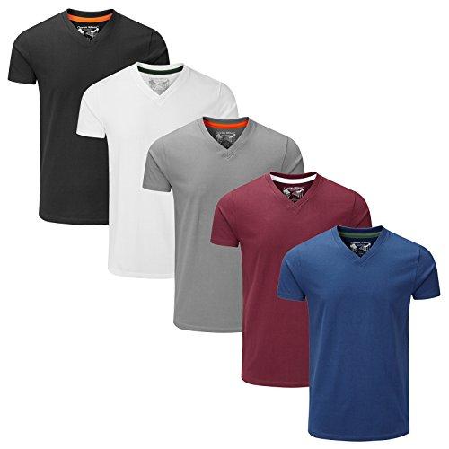 Charles Wilson Paquete 5 Camisetas Cuello Pico Lisas (Large, Essentials Type 22)