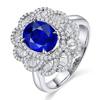 Bishilin Anillo de Mujer 750 Anillo de Compromiso, Oval y Flor Zafiro 3.06ct Diamante Anillo de Compromiso Anillo de Aniversario Aniversario Cumpleaos Azul Plateadotamao: 8