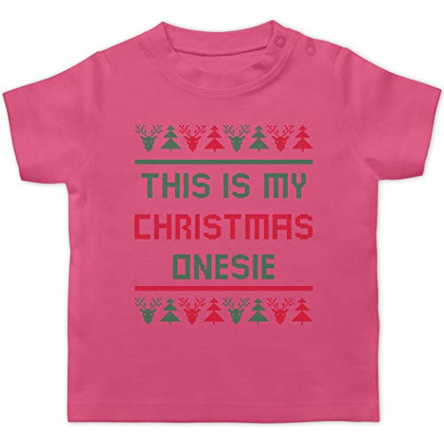 Weihnachten Baby - This is My Christmas Onesie - 6/12 Monate - Pink - Norwegermuster - BZ02 - Baby T-Shirt Kurzarm