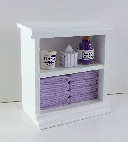 Town Square Miniatures Dolls House Miniature Furniture Small Shelf Unit & Lilac Bathroom Accessories