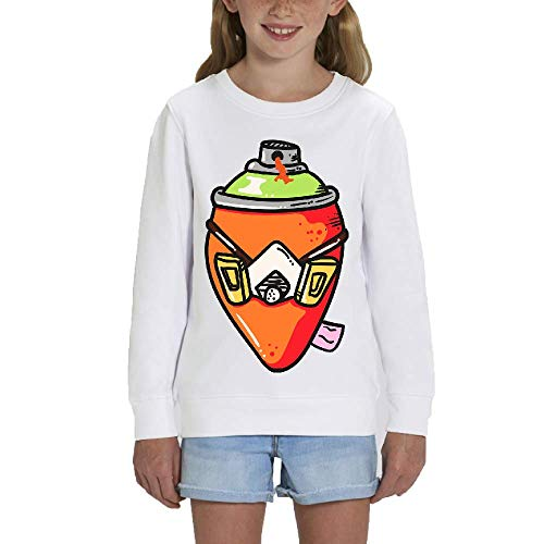 LookMyKase Sweat - Manche Longue - Col Rond - Graffiti - Fille - Blanc - 5-6ans