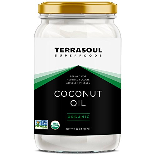 Terrasoul Superfoods Refined (No Coconut Flavor or Scent) Organic Coconut Oil, 2 Pounds (Glass Jar)
