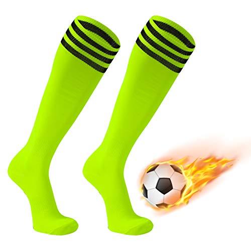 Footplus Schuluniform-Socken, kniehoch, klassische Fußballsocken für Softball, Volleyball, Baseball, Boxen, Hockey zurück zur Schule, 2 Paar fluoreszierendes Gelb + schwarze Streifen, groß