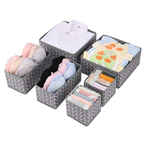MaidMAX Aufbewahrungsbox Schubladen Ordnungssystem, Kleiderschrank Schubladen Organizer, Ordnungsbox für Unterwäsche BH Dessous Socken, Stoffbox Faltbox in 6er Set -Grau Zweigmuster