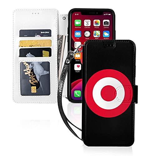 Estuche para teléfono LINGF,Estuche Red Target Bullseye para iPhone 11 Pro Estuche Lindo para Mujeres Hombres Estuche de Cuero con Billetera con Correa Estuche Protector
