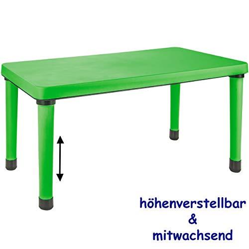 alles-meine.de GmbH Kindertisch / Tisch - höhenverstellbar & mitwachsend - GRÜN - für INNEN & AUßEN - Kindermöbel - Mädchen & Jungen - bis 100 kg belastbar - Plastik / Kunststoff..