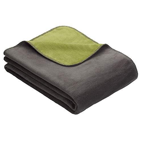 Kuscheldecke IBENA Dublin 2340 / Wendedecke hellgrün/grau / Tagesdecke 150x200 cm / angenehm warm & besonders kuschelig weich / hervorragende Qualität mit hohem Baumwollanteil in vielen verschiedenen Größen & Farben erhältich