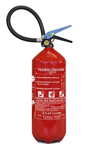 ninux Feuerlöscher ABF 6 kg (6 l) mit Halterung und Manometer I Fettbrand-Löscher I Fettlöscher I Schaum-Löscher I Geeignet für Haushalt, Auto, Camping, Gastro