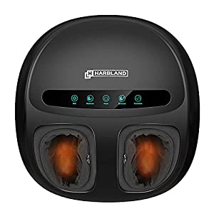 Foot Massager Machine, HARBLAND Electric Foot Massager with 5 Shiatsu Mode Kneading Rolling, Air Compression and Heat…