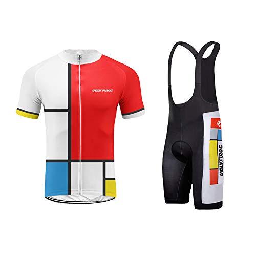 Uglyfrog Männer Radfahren Kleidung Set Kurze Hülse Trikots+Trägerhosen Anzüge Sportbekleidung Schnell Rocknend Fahrradkleidung Für Rennrad,Radsport