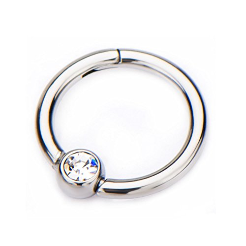 16G CZ Crystal Centered Stainless Steel Hinged Segment Ring for Septum, Nostril, Lip, and Ear Piercings 5/16' (8mm)