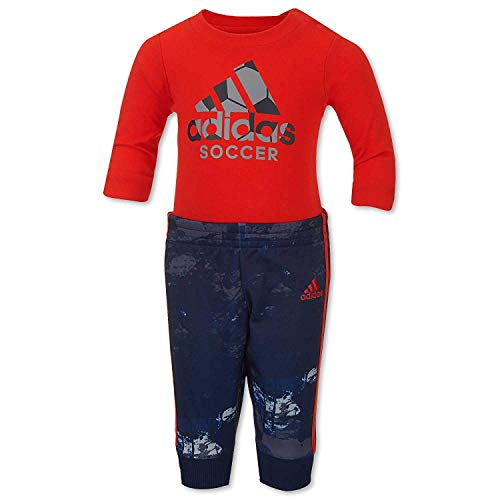 adidas Little Boys` Game Changer 2-Piece Bodysuit and Jogger Pant Set (12 Months, Fiery Red (620) / Black/Grey)