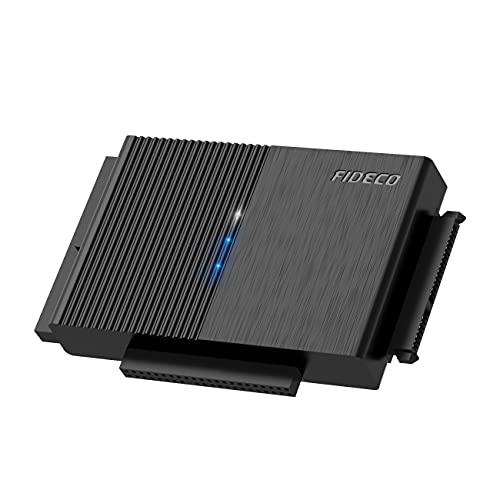 FIDECO Adattatore IDE e SATA, Adattatore per Disco Rigido USB 3.0, Convertitore SATA e IDE per Unità HDD o SSD da 2,5 e 3,5 Pollici, CD-ROM, CD-RW, DVD-RW