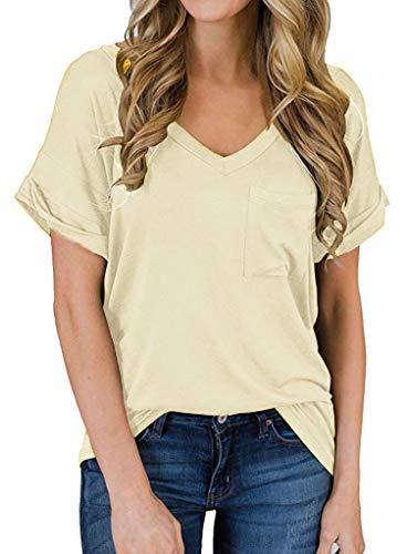 Minetom Camisa Mujer Casual Top Manga Corta Túnico Cuello en V tee Shirt Suelto Camiseta Verano Sólido Blusa Amarillo ES 36