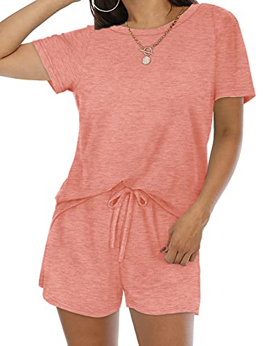 Lounge Wear Outfits for Women 2 Piece Sweatsuits Set Summer Coral L