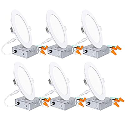6 Pack 6 Inch Recessed Lighting with Junction Box, 14W=100W, 1100lm, CRI 90, 5000K Daylight White, Dimmable Ultra-Thin LED Downlight, Canless LED Recessed Ceiling Light, ETL