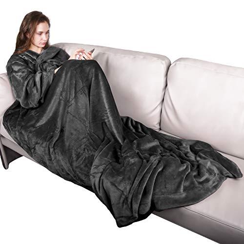 Qomolo Manta con Mangas, 180x150cm Manta Caliente de Franela Más Gruesa con Bolsillo, Manta de Lana de Felpa Suave Microfibra Sofá de La Manta