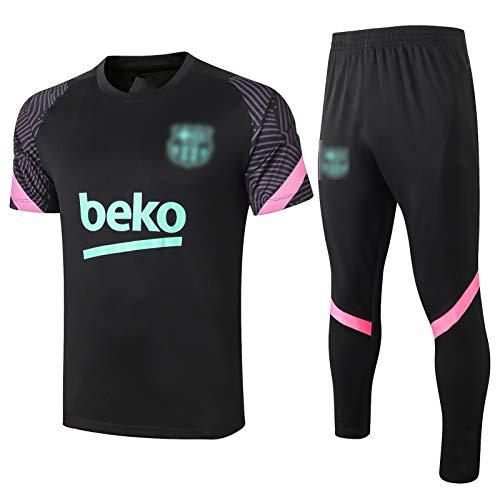 BVNGH Barcelona - Traje de entrenamiento de camiseta de fútbol, 2021 New Season Sportswear de verano de manga corta, transpirable y de secado rápido (S-XXL) S